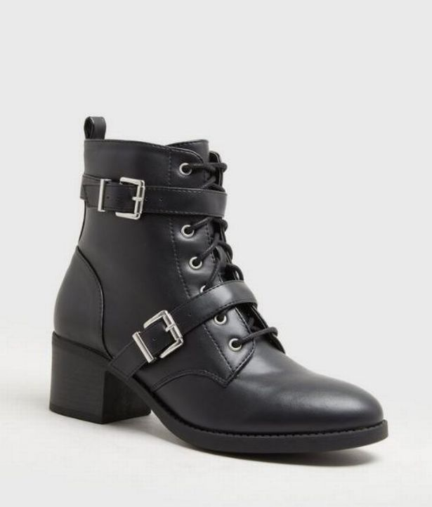 Black Buckle Lace Up Mid Heel Boots