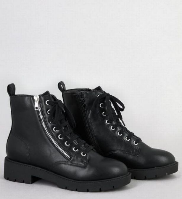 Black Zip and Lace Up Chunky Biker Boots