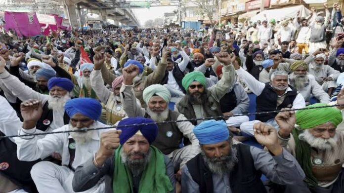 Farmers during their protest against the Centres new farm