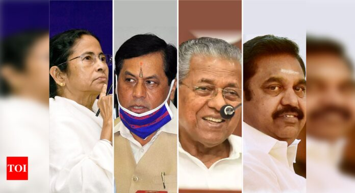 Assembly elections 2021: Voting underway in 475 assembly constituencies in Tamil Nadu, Kerala, Assam, Bengal, Puducherry | India News - Times of India