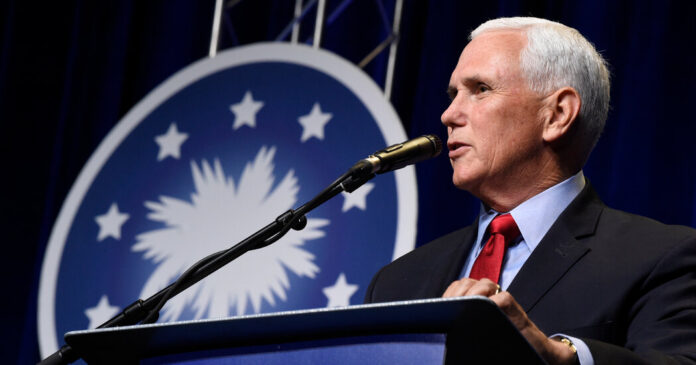 Pence, in his first speech since leaving office, speaks fondly of Trump.
