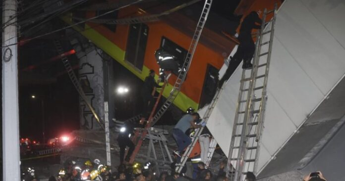 At least 20 killed after overpass carrying train cars collapses in Mexico City