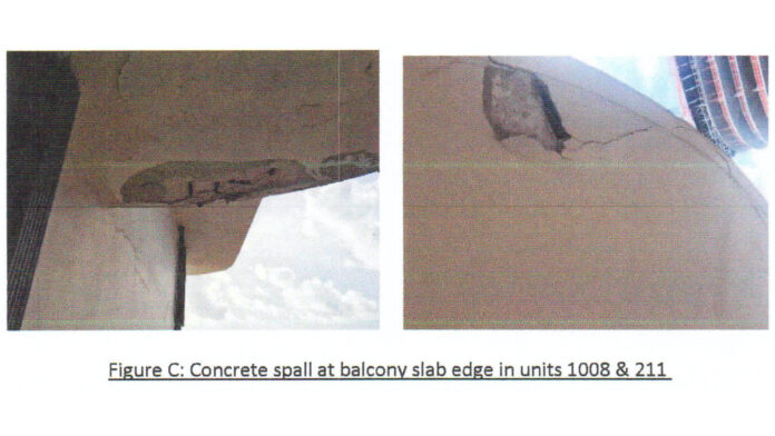 These photos published in the 2018 report shows concrete spalling on a balcony at Champlain Towers.