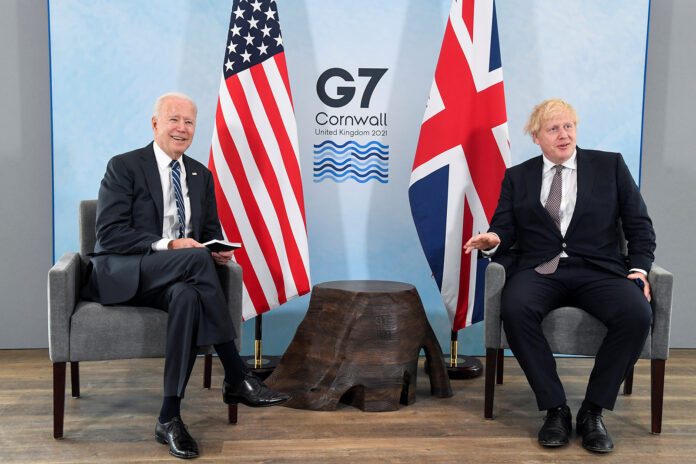 Britain's Prime Minister Boris Johnson meets with US President Joe Biden, ahead of the G7 summit, at Carbis Bay Hotel, on June 10, near St Ives, England.