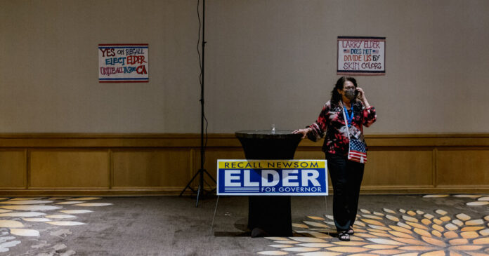 High hopes for victory at Larry Elder's party, and then a concession.