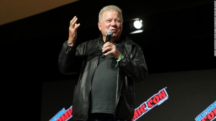 William Shatner jokes with crowd at New York Comic Con about space flight.